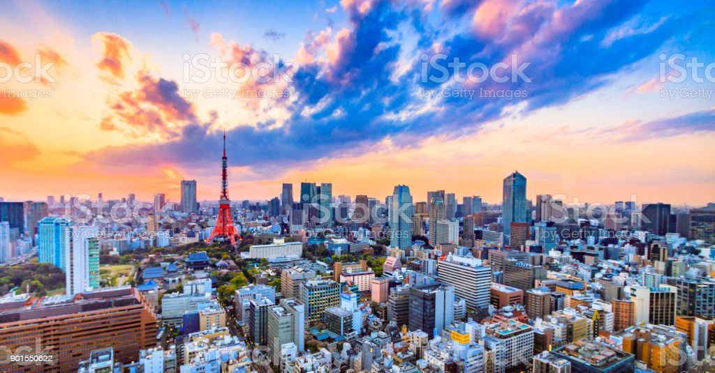 Cityscapes Tokyo, Japan skyline with the Tokyo Tower stock photo