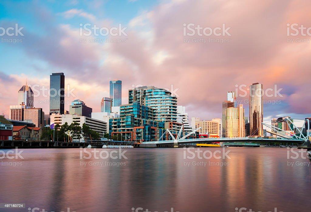 Cityspace at sunset stock photo