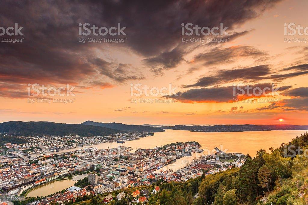 Cityspace of Bergen, panoramic view stock photo