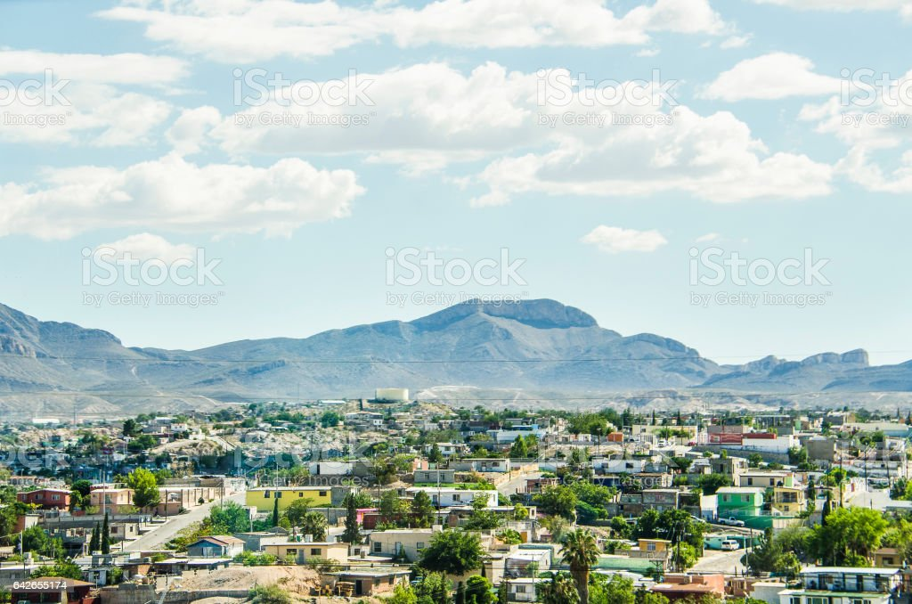 Ciudad Juárez in Mexico cityscape or skyline, viewed from border stock photo