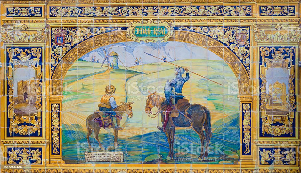 Ciudad Real Province, Glazed tiles bench at Spain Square, Sevill stock photo