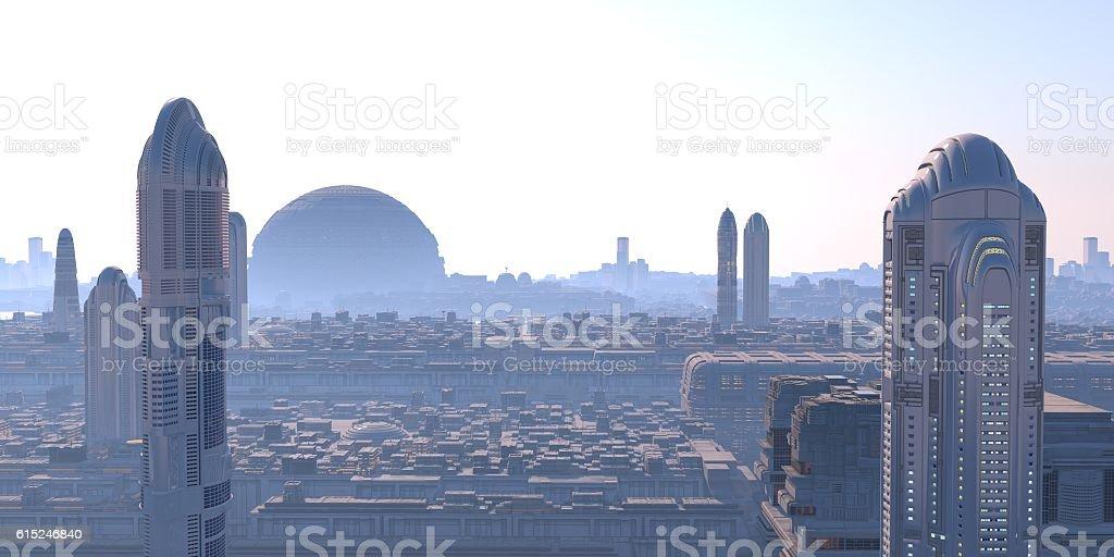 ciudad sci-fi panorámica stock photo