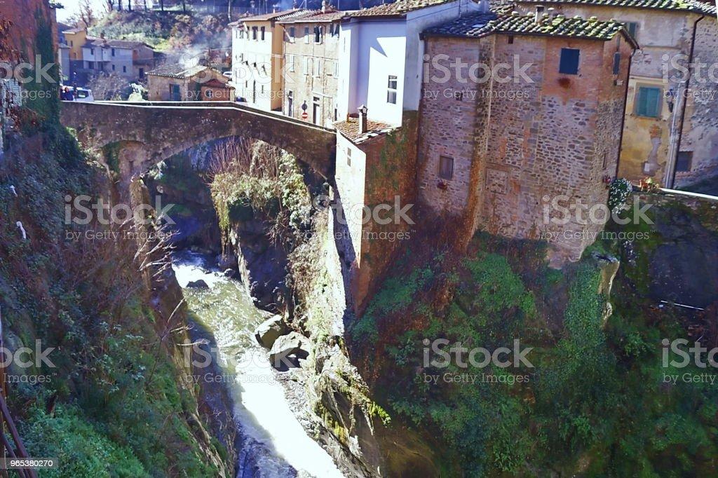 Ciuffenna creek, Loro Ciuffenna, Tuscany zbiór zdjęć royalty-free
