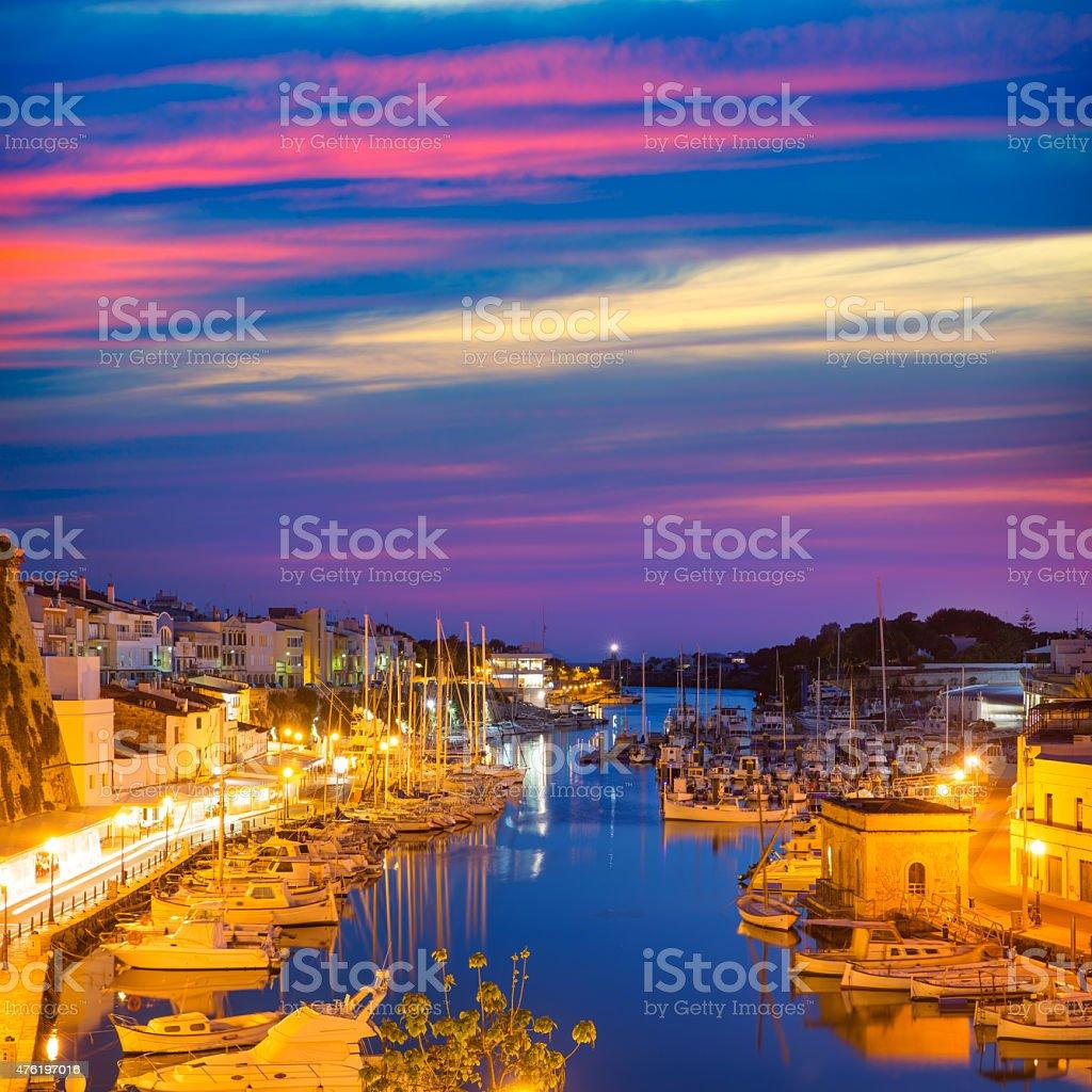 Ciutadella Menorca marina Port sunset town hall and cathedral stock photo