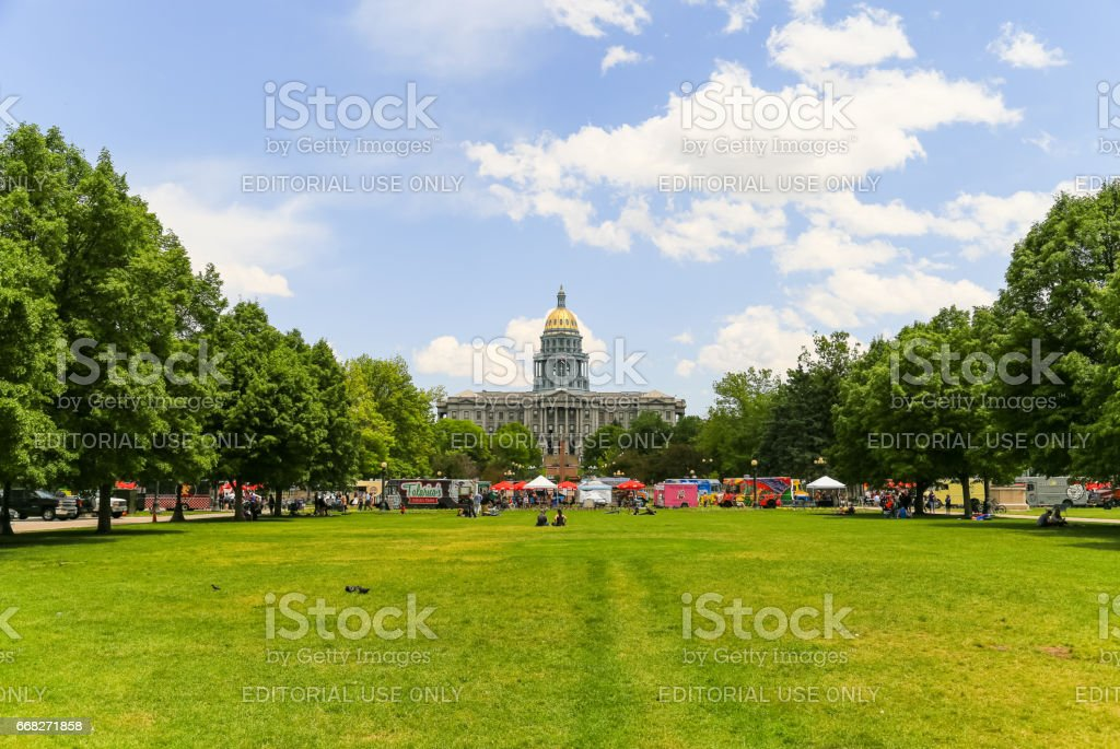 Civic Center Park and Colorado State Capitol stock photo