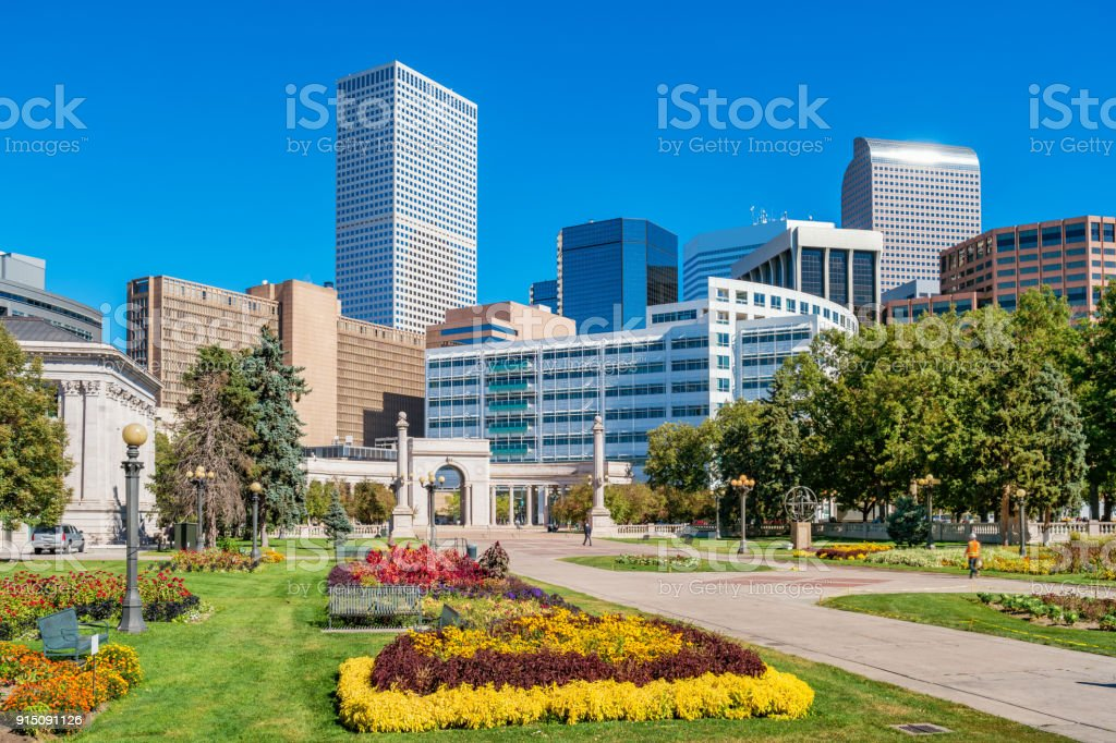 Civic Center Park and downtown Denver Colorado USA stock photo