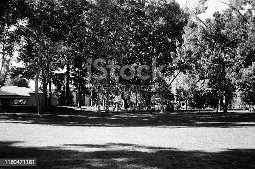Walnut Creek, California, United States - October 06, 2019:  Black and white photo on true analog film of Civic Park in Walnut Creek, California, October 6, 2019