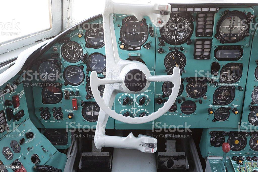 Civil airplane cocpit stock photo