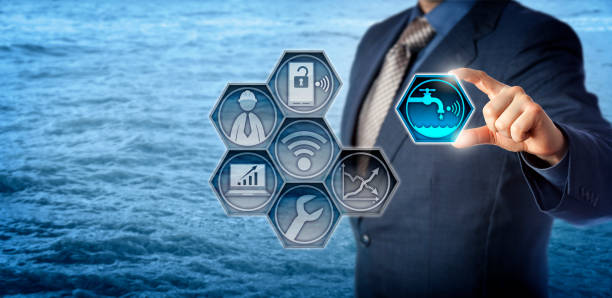 Civil Engineer Activates Smart Water Management stock photo