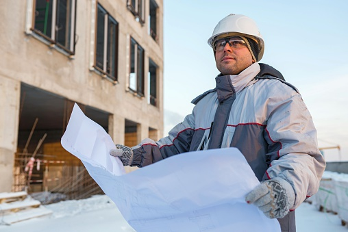 Civil Engineer At Construction Site Stock Photo - Download Image Now