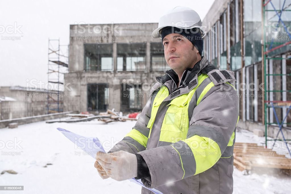 Civil Engineer At Construction Site stock photo