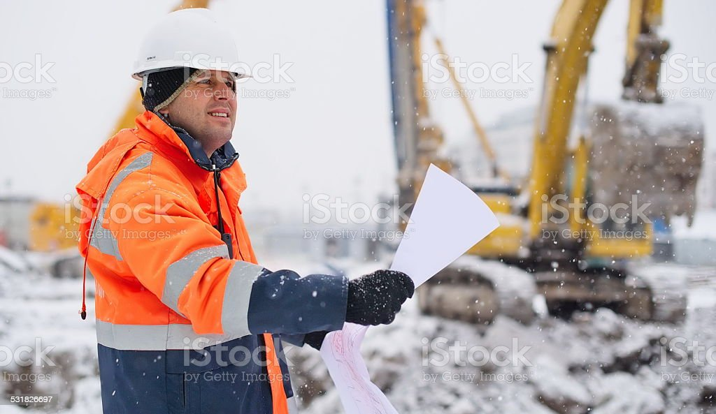 Civil Engineer At Construction Site royalty-free stock photo