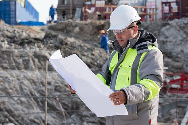 civil engineer at construction site - civil engineer stock photos and pictures
