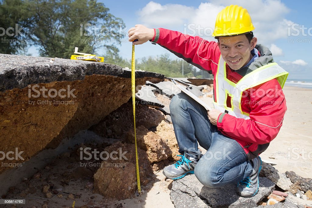 Civil Engineer check Beach Road stock photo