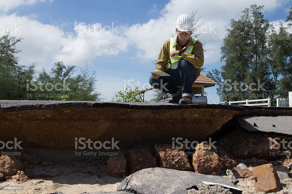Civil Engineer check Beach Road stock photo