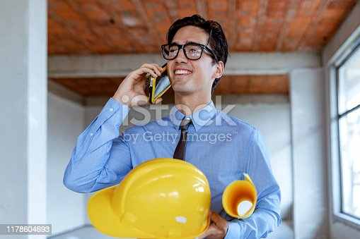 Engineer construction talking mobile phone
