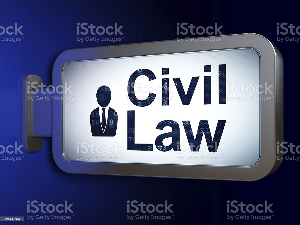 Civil Law and Business Man on billboard background royalty-free stock photo