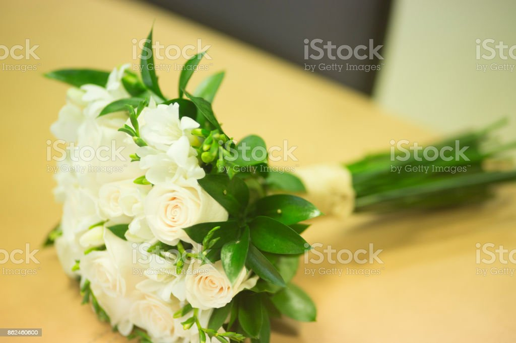 Non Religious Wedding.Civil Non Religious Wedding Ceremony Registry Office Bridal Bouquet Of Roses Flowers Of The Bride Stock Photo Download Image Now