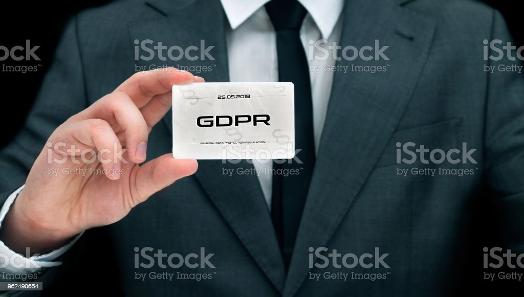 Civil servant showing card with GDPR sign - Royalty-free Accessibility Stock Photo