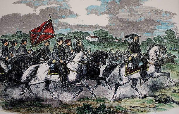 U.S. Civil War Antique Engraving Photograph of an 1862 engraving of General Jeb Stuart and his cavalry near Culpepper Courthouse, Culpeper, Virginia. american civil war stock pictures, royalty-free photos & images