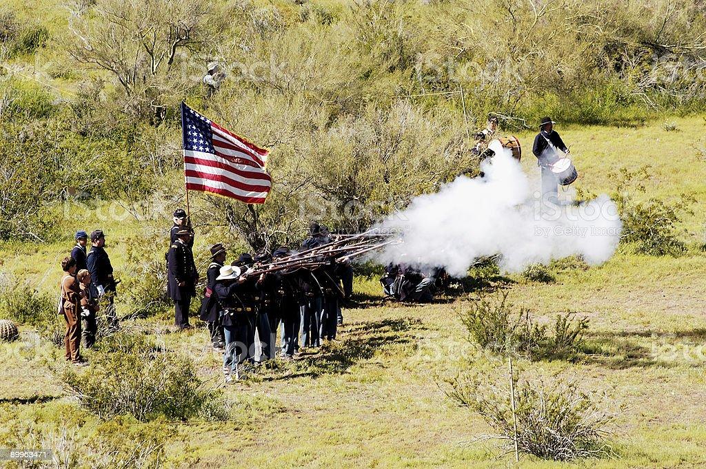 Civil War battle enactment 9 stock photo
