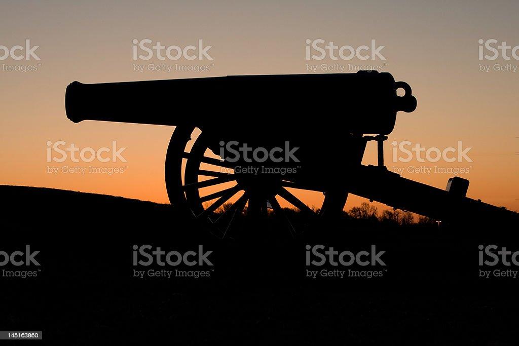Civil War Cannon at Sunrise stock photo