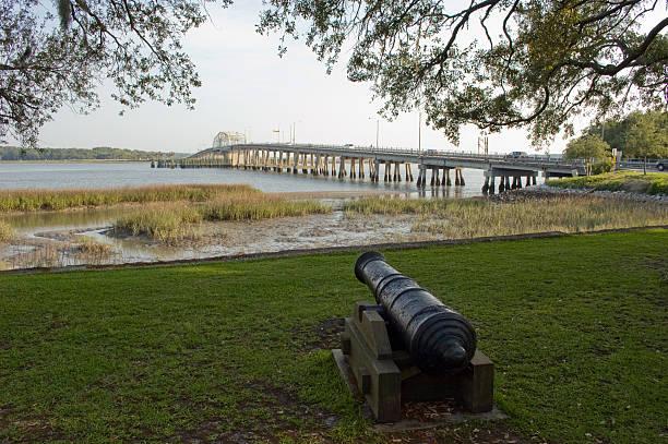 Civil War Cannon, Beaufort, South Carolina stock photo