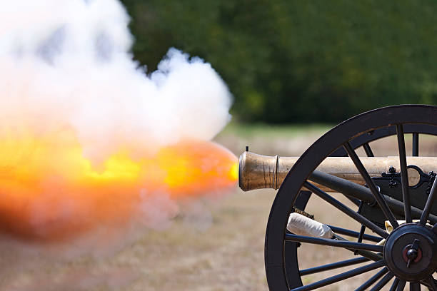 Civil War Cannon Firing stock photo