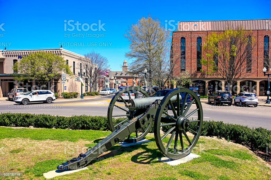 Civil war canon on the Memorial Square in Franklin, Tennessee stock photo