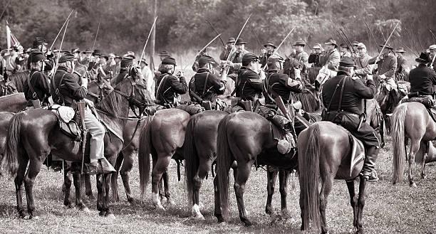 Civil War Cavalry Salute stock photo