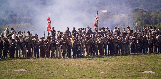 US Civil War Confederate Infantry in Shenandoah Valley stock photo