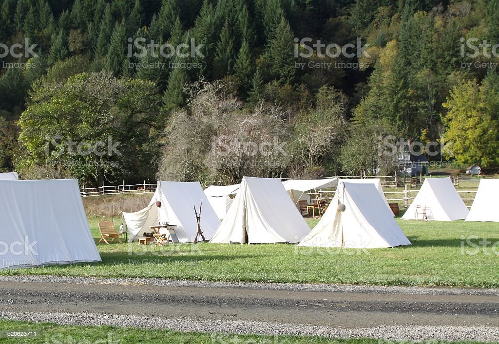 Civil War Encampment Reenactment stock photo