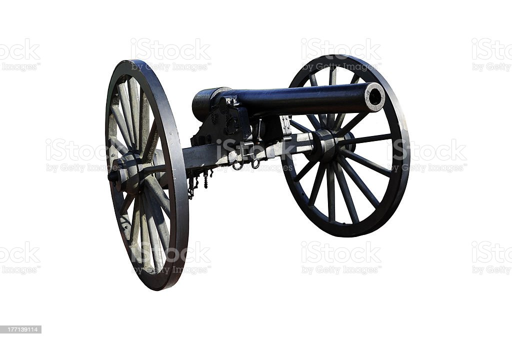 Civil War Era Cannon against White stock photo