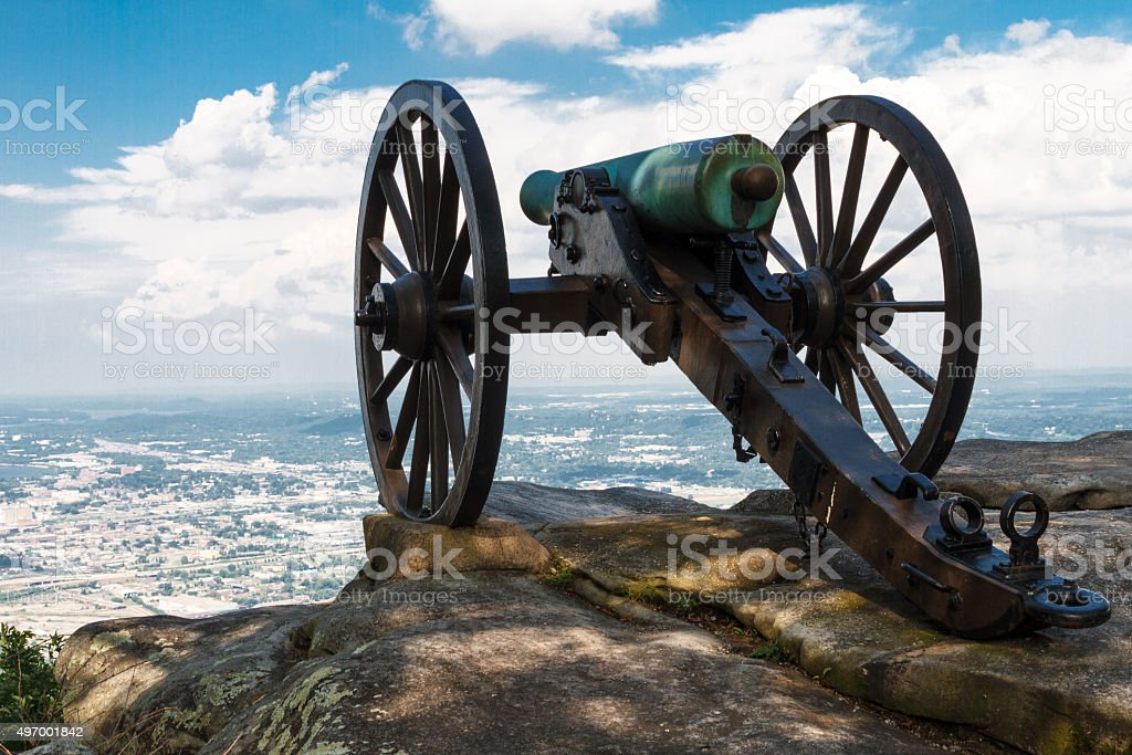 Civil War era cannon atop Lookout Mountain, overlooks Chattanooga Tennessee stock photo