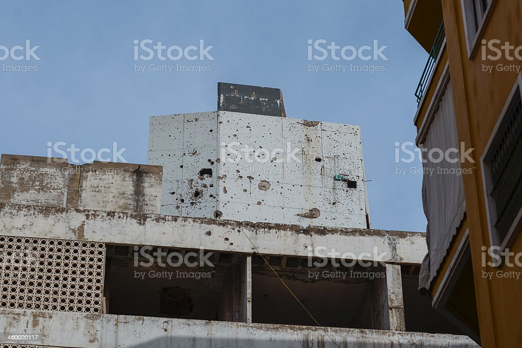 Civil war hotel ruin, Beirut, Lebanon stock photo