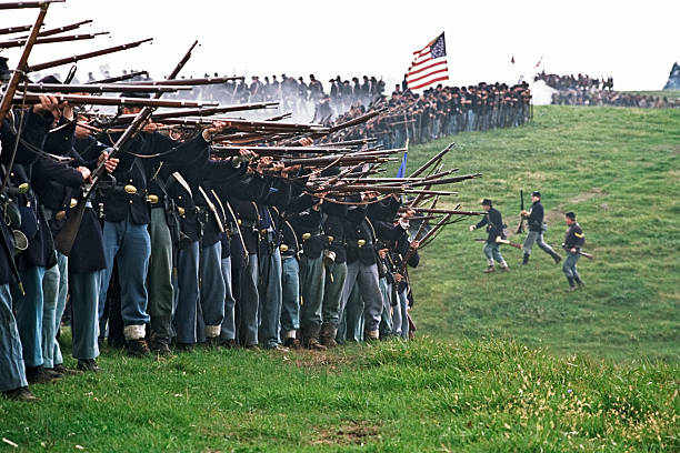 US Civil War Infantry Line of Battle Shenandoah Valley Virginia  american civil war stock pictures, royalty-free photos & images