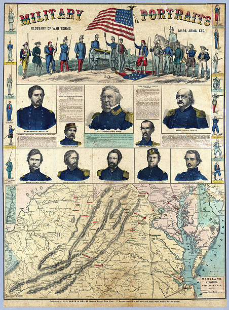 US Civil War map military history american civil war stock pictures, royalty-free photos & images