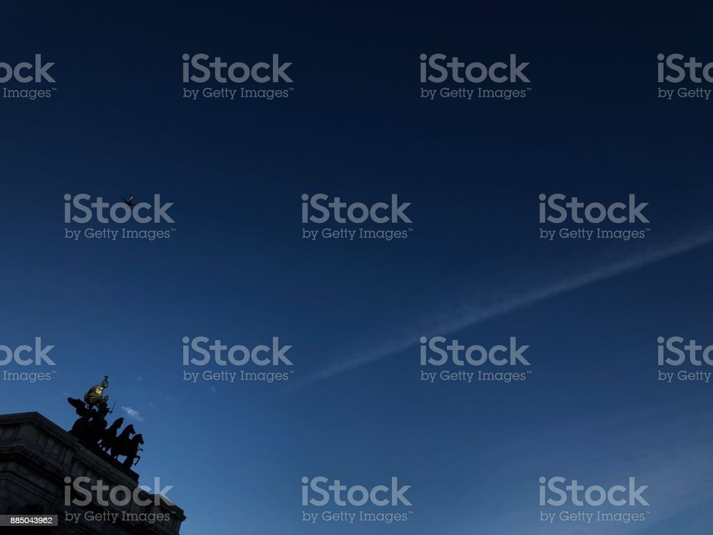 Civil War memorial under bright blue sky stock photo