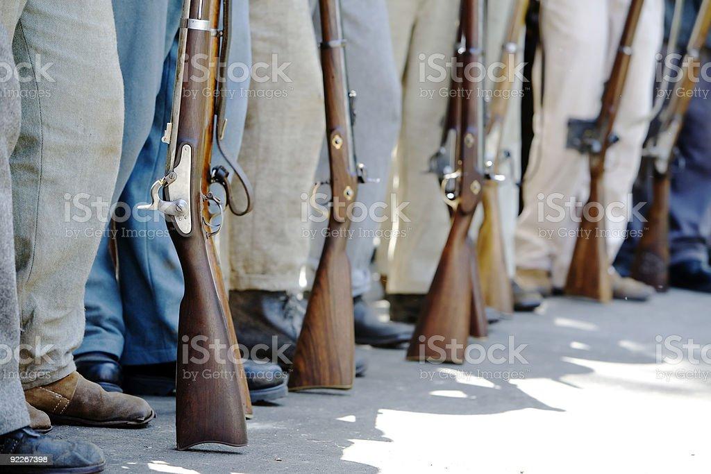 Civil War Re-Enactment - Guns and Legs stock photo