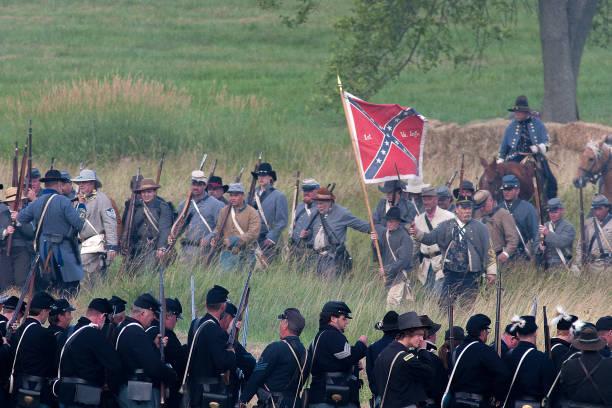 남북 전쟁 재연 스톡 사진