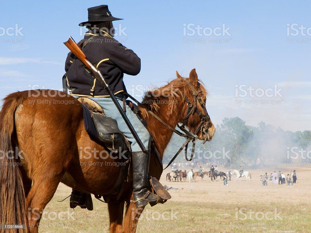 Civil War Reenactment - Union Cavalryman on Horse stock photo