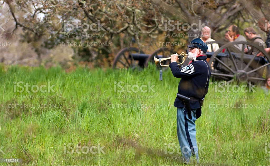 Civil War Reenactment Union Soldier Bugler Sounds Call During Battle royalty-free stock photo