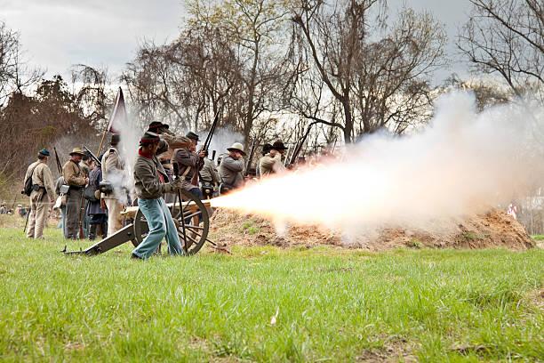 Civil War Reenactors - Firing the Cannon