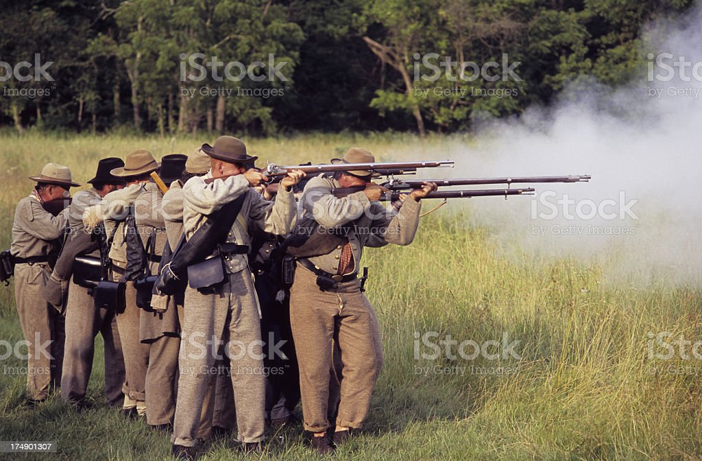 Civil War shooting formation. stock photo
