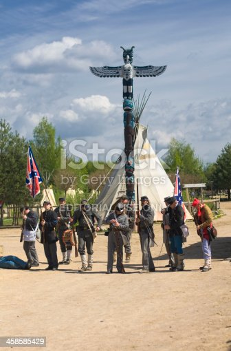 Templin, Germany - May 01, 2010: Civil War Reenactment: Confederate soldiers firing at Union troops