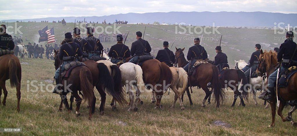 US Civil War Union Cavalry Attack Hill stock photo