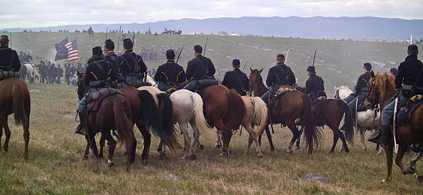 us civil war union cavalry attack hill - civil war stock photos and pictures