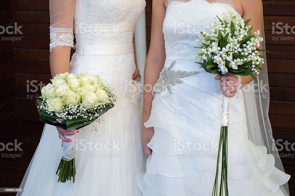 civil wedding of a lesbian stock photo