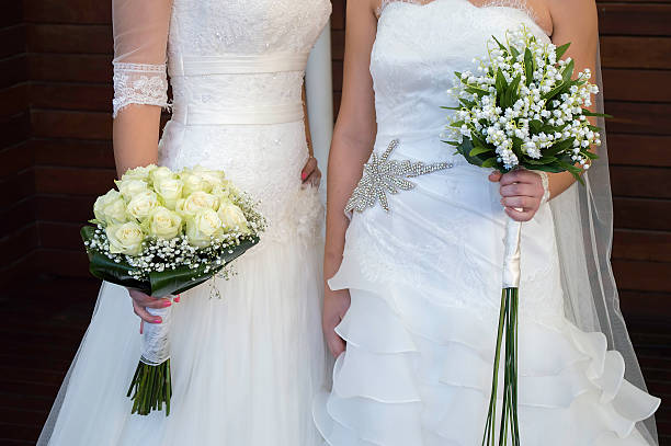 civil wedding of a lesbian stock photo