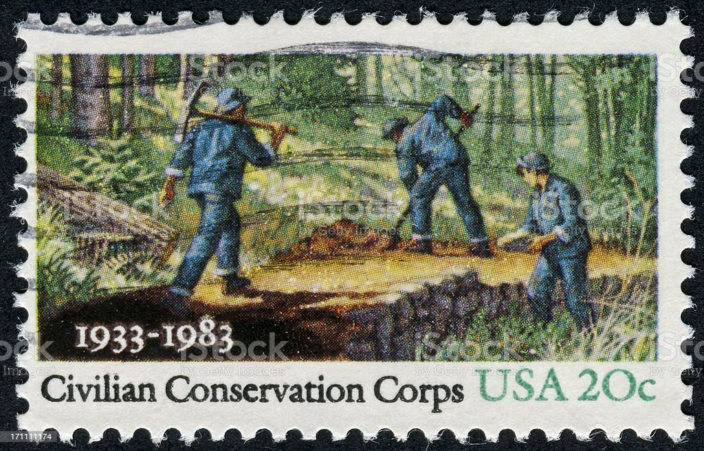 Civilian Conservation Corps Cancelled Stamp From The United States Featuring The Civilian Conservation Corps Black Background Stock Photo
